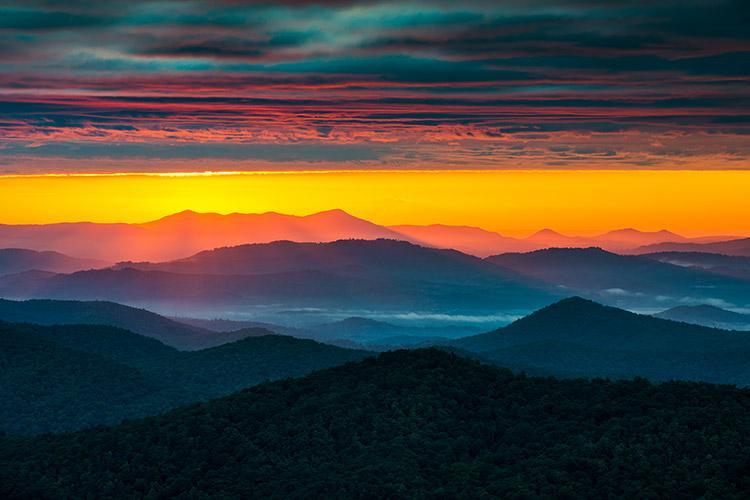 North Carolina Blue Ridge Mountains Scenic Sunrise Landscape Photography Asheville Nc