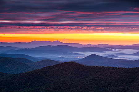 Blue Ridge Parkway NC Sunrise Landscape