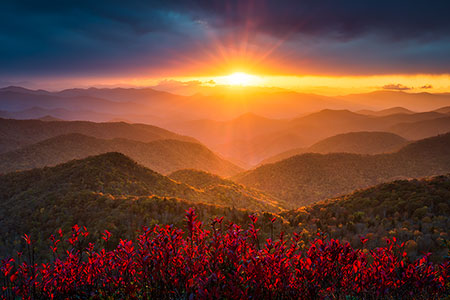 Blue Ridge Mountains Sunset Autumn Landscape