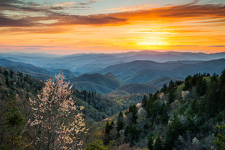 Cherokee NC Sunset Mountains Spring Landscape