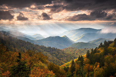 Smoky Mountains Blue Ridge Parkway Scenic Landscape