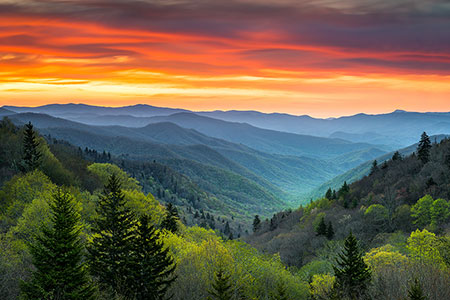 Gatlinburg TN Smoky Mountains Sunrise Landscape